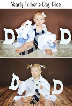 This is such a great idea! Take pictures every year for Father's Day (or at least the first 5 years) and then have them all framed together for dad's office!