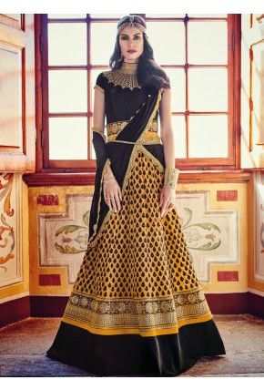 Black and Mustard Georgette Heavy Embroidered Anarkali