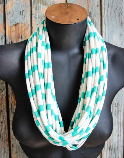 Oatmeal & Green T-shirt Necklace / Scarf