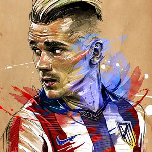 Finer detail by Yann Dolan  Paris based artist produces strong portraits of Frank Ribery, Antoine Griezmann and Paul Pogba.