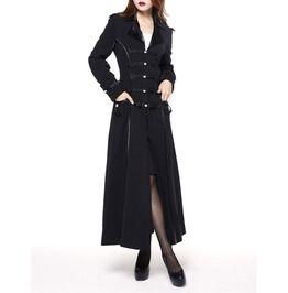 Women's Gothic Victorian Long Coat Goth Womens Military Black