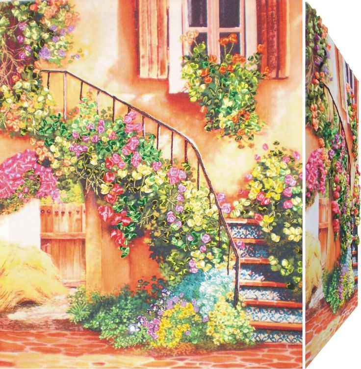 FLOWER STAIR 3D Ribbon embroidery on printed canvas with back woodden frame size: cm. 45x55 Price: € 150,00 $ code: P007