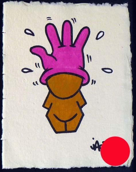JACE   sans titre   -    2011   acrylique sur papier recyclé   24 x 18 cm   Oeuvre encadrée dans une caisse américaine noire   VENDUE