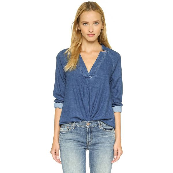 Crippen Tilly Chambray Top ($275) ❤ liked on Polyvore featuring tops,  chambray,