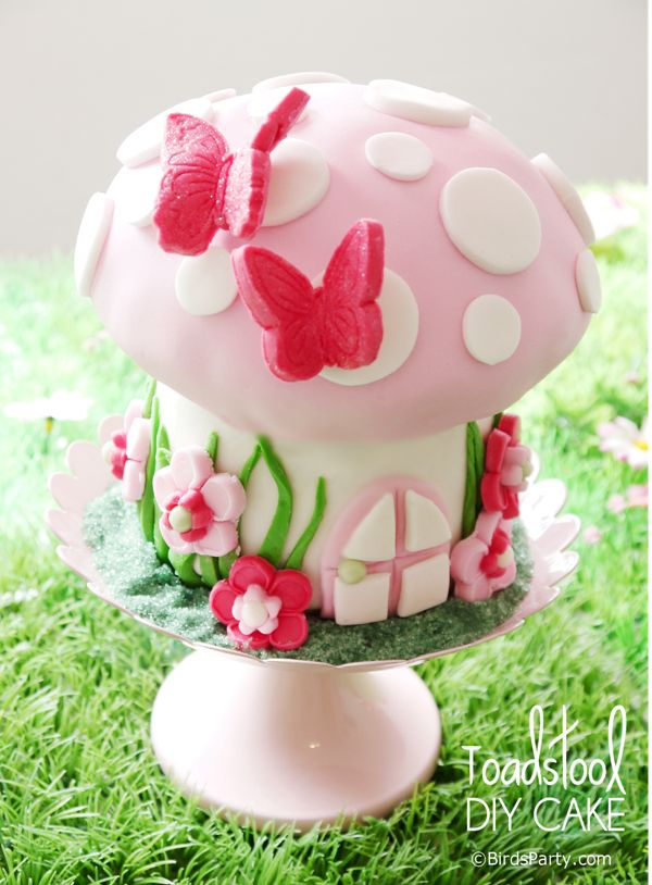 Toadstool Birthday Cake step-by-step from Bird's Party blog