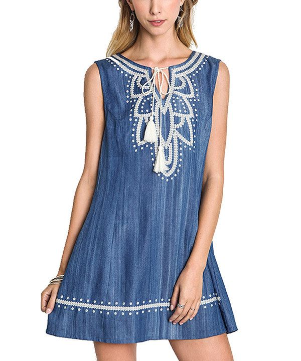 Look at this On Trend Blue Dark Denim Embroidered Notch-Neck Tunic on #zulily today!