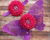 Enchanted Garden Fuchsia & Purple Butterfly Wing Set- Newborn Baby Wing Set- Newborn Photo Prop- Woodland Photo Prop- Photography Prop