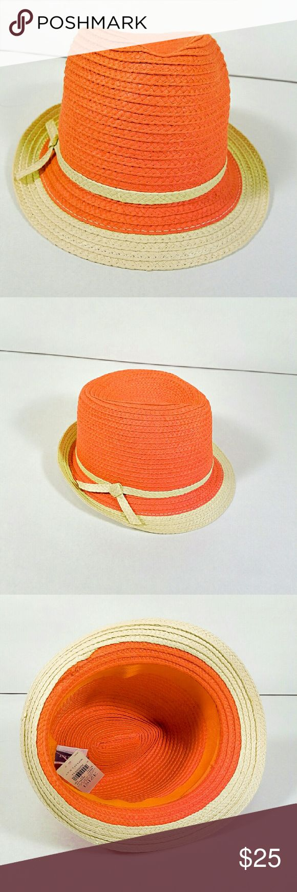 Ann Taylor Raffia Fedora Orange Hat. New with tags. Ann Taylor Accessories Hats