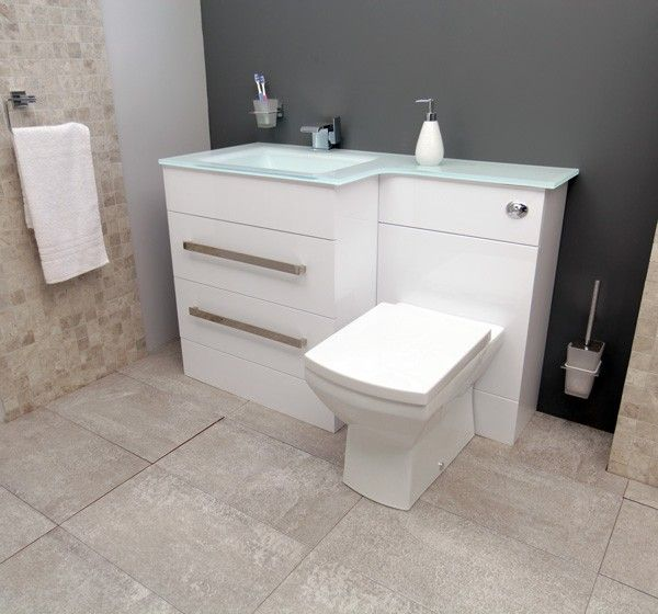The Vigo left hand combination unit and white basin with tabor BTW pan. This modern styled combination unit comes complete with unique white basin/worktop and 2 deep drawers to cater for any bathrooms storage needs. Complete with chrome finished handles the unit comes with a choice of 5 different toilet pans.