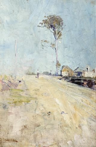 ARTHUR STREETON (1867 – 1943) A ROAD TO THE KURRAJONG, c1896 (also known as SUMMER HEAT) oil on wood panel 31.0 x 21.0 cm