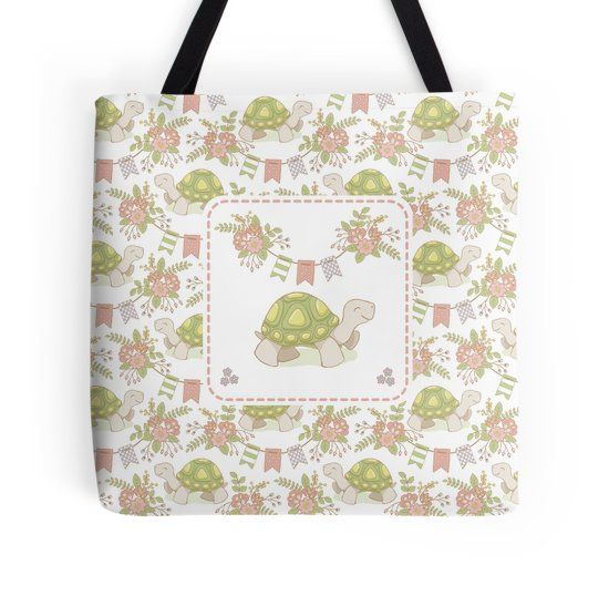 Little Tortoise #Tortoise #Despacito #peach #Onceupon #Kids #baby #Flowers #Floral #Springtime #Pastels #Flowery #Mia #redbubble # totebag #bolso
