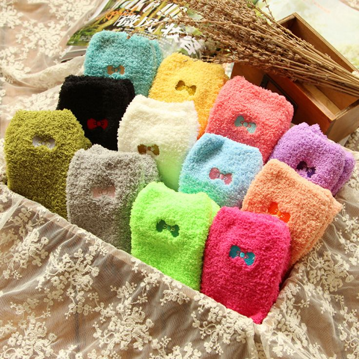 2016 Fashion love candy color dot Thick warm bow tie Female winter Wool funny socks women cotton ladies 3d girls socks hosiery