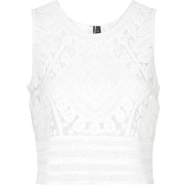 TOPSHOP Premium Cornelli Lace Shell Top ($90) ❤ liked on Polyvore featuring tops, cream, white boxy top, white tops, cream top, topshop tops and lace top