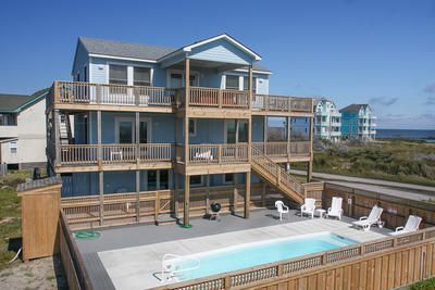 Oceanview 4 bedroom 4 bath private unheated pool for Hatteras cabins rentals