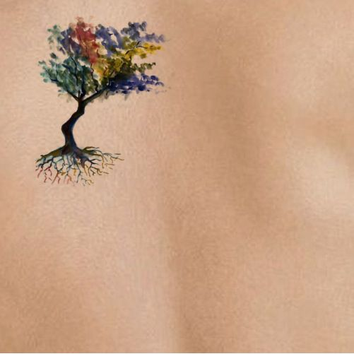 tree small on light skin | tattoo stencil - temporary tattoo