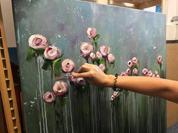 Große Blumen Kunst Arbeit, große Öl Gemälde Malerei, Leinwand, Original, Handbemalen, Geschenk, Wandkunst, Kunst, Ölgemälde