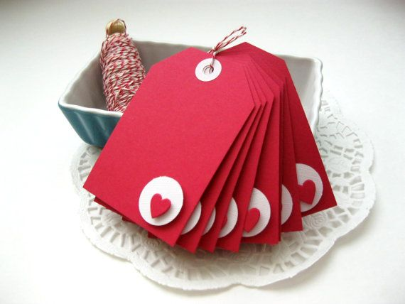 Red Heart Valentine Tags Set of 8 Valentine's Day by AlmondCrafts, $6.00
