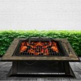 Luxo Berlin Square Grate BBQ 36 Inch Outdoor Slate Fire Pit Grill Burner
