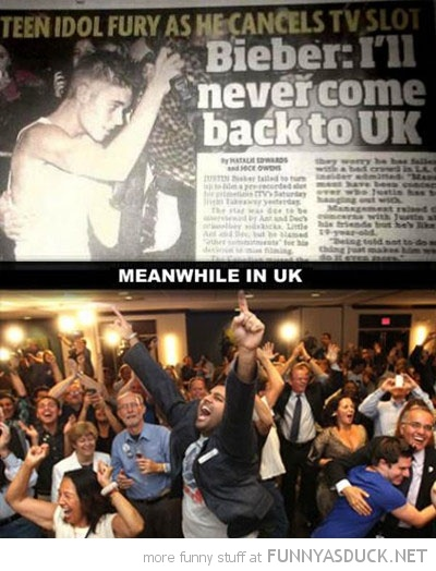 justin beiber never coming back to uk crowd cheering funny pics pictures pic picture image photo images photos lol