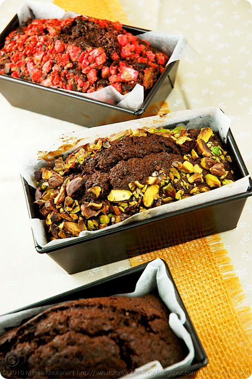 Rich Chocolate Banana Breads with Pistachios, Pink Praline and Au Naturel (01) by MeetaK