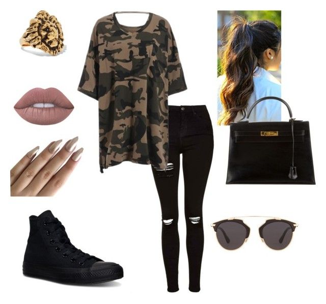 """""""💣"""" by elleeli ❤ liked on Polyvore featuring Topshop, Converse, Hermès, Christian Dior, Yves Saint Laurent and Lime Crime"""