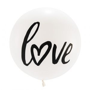 """Say """"love"""" jumbo style with these big round 36"""" balloons that are a great wedding or engagement party decoration. Made from helium quality latex these balloons will make a statement on their own or combined with other round white wedding balloons."""