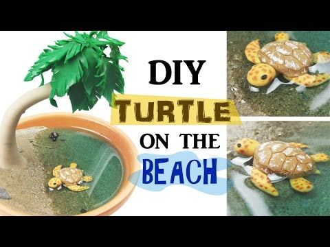 Diy minature turtle on the beach.Its so cute and small and Nerdecrafter teaches you how to do this Diy step by step make sure to check out her channel she's an amazing youtuber