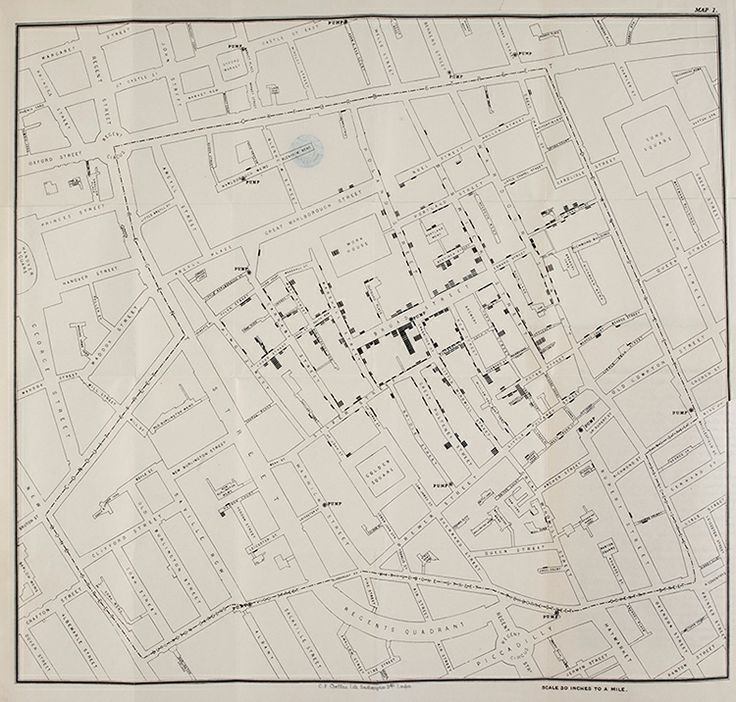 Cholera map, John Snow. London, 1855