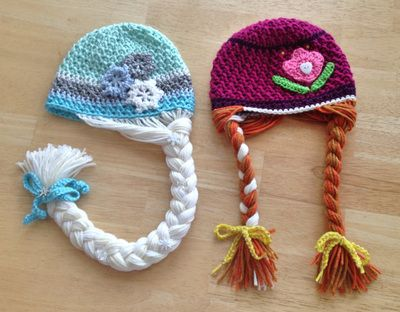 Elsa & Anna - Frozen Hats Crochet Projects - Designs By Megan - Pattern available soon from www.designsbymegan.com