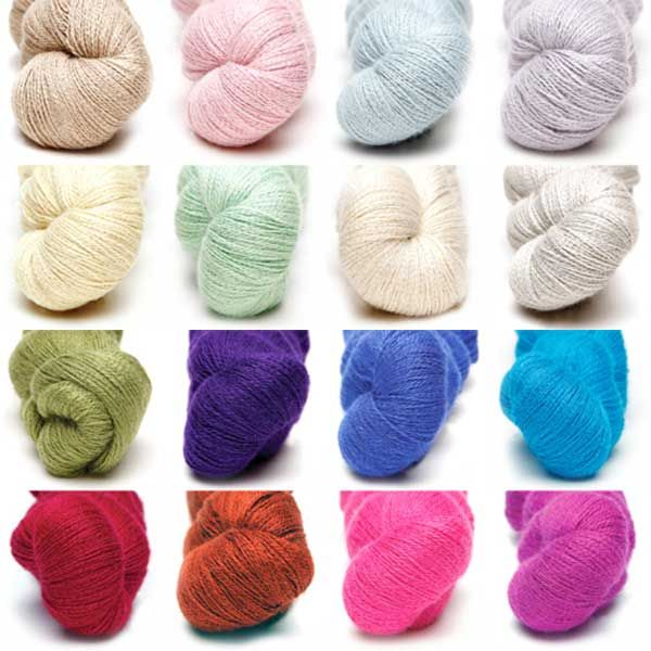a Colour pack of all 16 colours of alpaca silk lace from Artesano Yarns #lace #silk #colourpacks #lacey #knitting #crochet #weaving #weave #felting #alpaca #yarn #wool #alpacasilk #knit