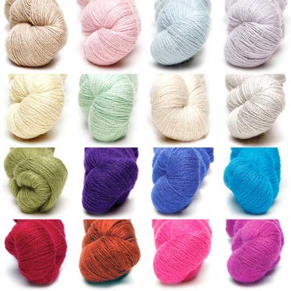 a Colour pack of all 16 colours of alpaca silk lace from Artesano Yarns #lace #silk #colourpacks #lacey #knitting #crochet #weaving #weave #felting #alpaca #yarn #wool #alpacasilk #knit