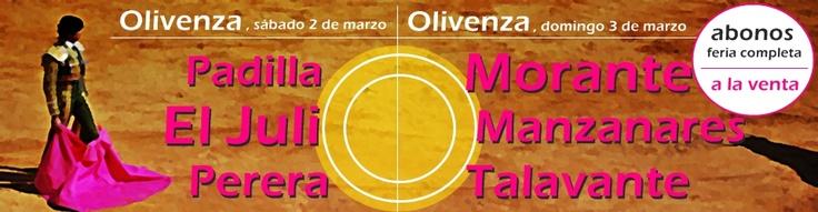 ¿Tienes ganas de toros? ¡A a venta los abonos para la Feria de Olivenza!http://www.toroticket.com/32-entradas-toros-olivenza