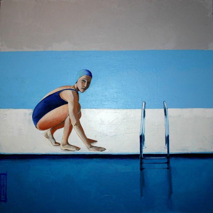 """""""Dziewczyna w kostiumie"""", akryl na płótnie 80x80 kasianowakowska.pl #painting #art #artwork #nowakowska"""