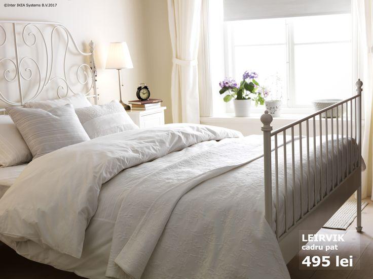 Cele 17 stinghii ale cadrului de pat LEIRVIK se adaptează greutăţii corpului şi conferă un plus de supleţe saltelei pentru ca somnul tău să fie și mai odihnitor.   Până pe 05 noiembrie, toți membrii IKEA FAMILY beneficiază de până la 20% reducere la toate paturile. Oferta este valabilă în limita stocului.