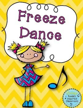"""Need a fun movement activity to fill a few minutes of music or PE? Classroom teachers, are you looking for a fun brain break to get your kids up and moving?Try this celebratefreebie Freeze Dance! Find music that your kids will love to groove to. Mine really like """"Happy"""" and """"I Like to Move It"""" but you can use just about anything!"""