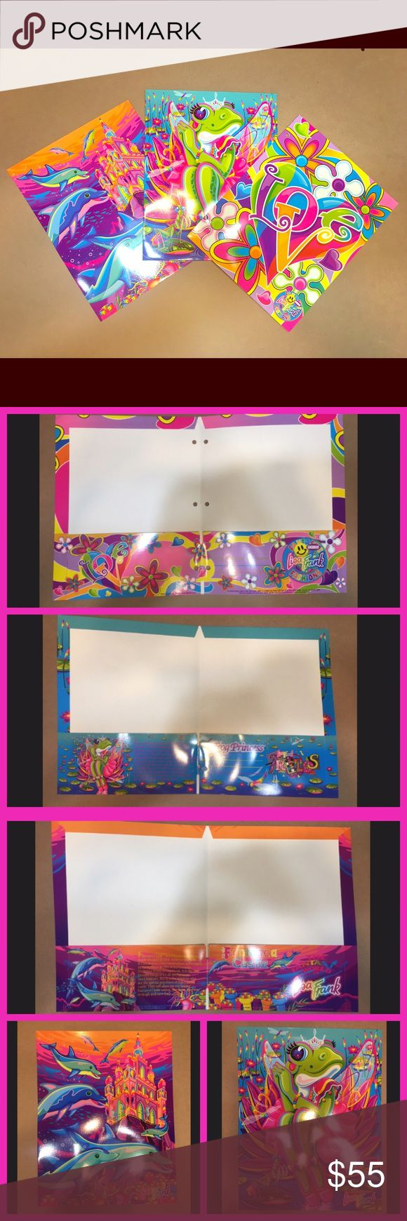 🌈RARE🌈 Vintage Lisa Frank Bundle Set of three, 90's Lisa Frank folders. These are brand new and still have the holes in tact. These are rare, vintage prints and are no longer in production. Accessories
