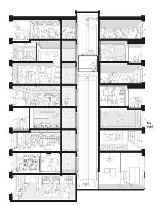 40 Unidades Habitacionais,Corte em Perspectiva