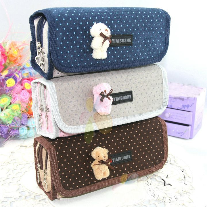 South Korea creative cute bear multifunctional pencil bag large capacity can be folded stationery box US $10.98