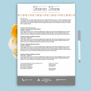 teachers resume design template docx white and grey - Free Teaching Resume Template