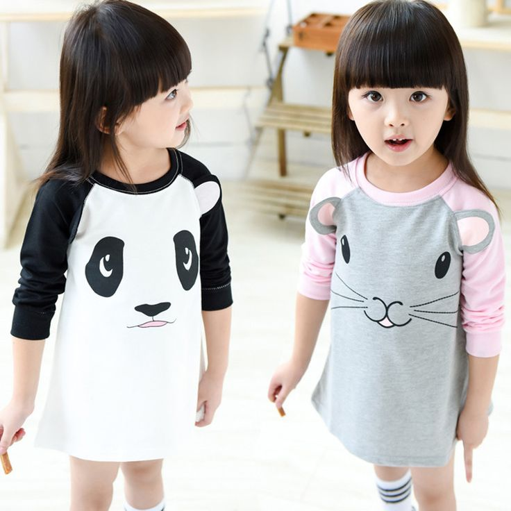 Autumn Kids girl clothes dresses 2016 Cartoon mouse panda girl Kids clothes  dresses Autumn brand Kid