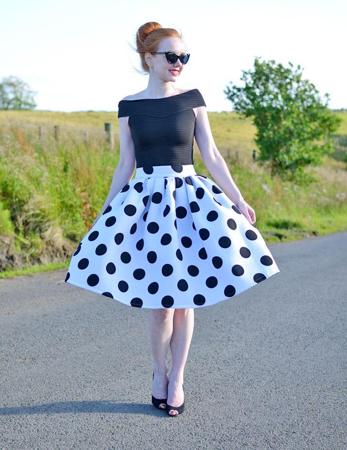 50s-inspired polka dot skirt and high heels