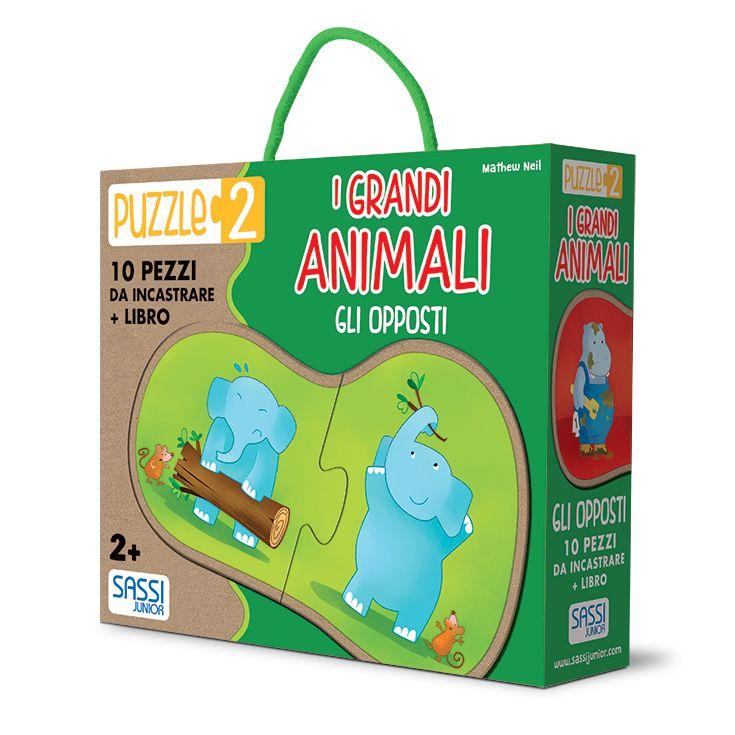 #Sassi Junior: Puzzle 2 - I Grandi Animali. Gli Opposti - 10 pezzi da incastrare + libretto di 10 pagine. #ecologia #libro #gioco