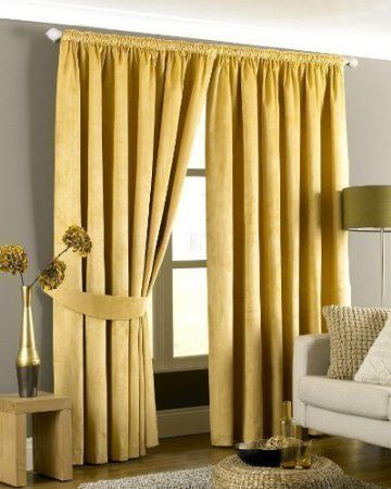 Riva Home Imperial Velvet Woven Pencil Pleat Lined Curtains Gold 90 X Inch