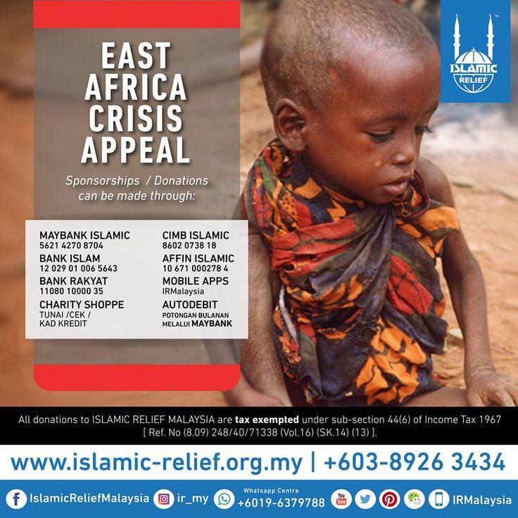 Lebih daripada 6.2 juta orang di SOMALIA memerlukan bantuan kemanusiaan manakala 2.9 daripadanya berdepan dengan risiko kematian sekiranya krisis kebuluran itu tidak ditangani dengan segera.  Kanak-kanak, warga emas dan golongan wanita mempunyai risiko yang paling tinggi untuk mendapat penyakit dan diancam maut.  Islamic Relief kini berada di Mogadishu, Somalia untuk meninjau dan memberi bantuan kecemasan seperti MAKANAN, AIR & PERUBATAN kepada mereka yang terkesan.