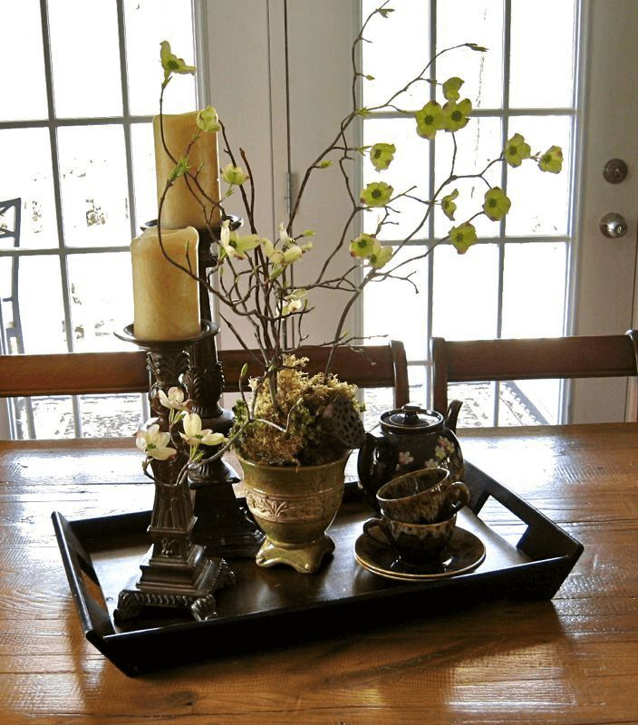 Wood tree centerpiece dining room table decor for spring