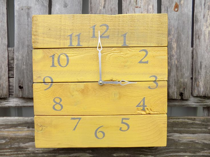 Pallet Wood Clock, Yellow Wood Clock, Rustic Wood Clock, Yellow and Grey Clock, Shabby Chic Clock, Mustard Yellow Decor, Primitive clock by ThePalletDoctor on Etsy https://www.etsy.com/listing/202473603/pallet-wood-clock-yellow-wood-clock