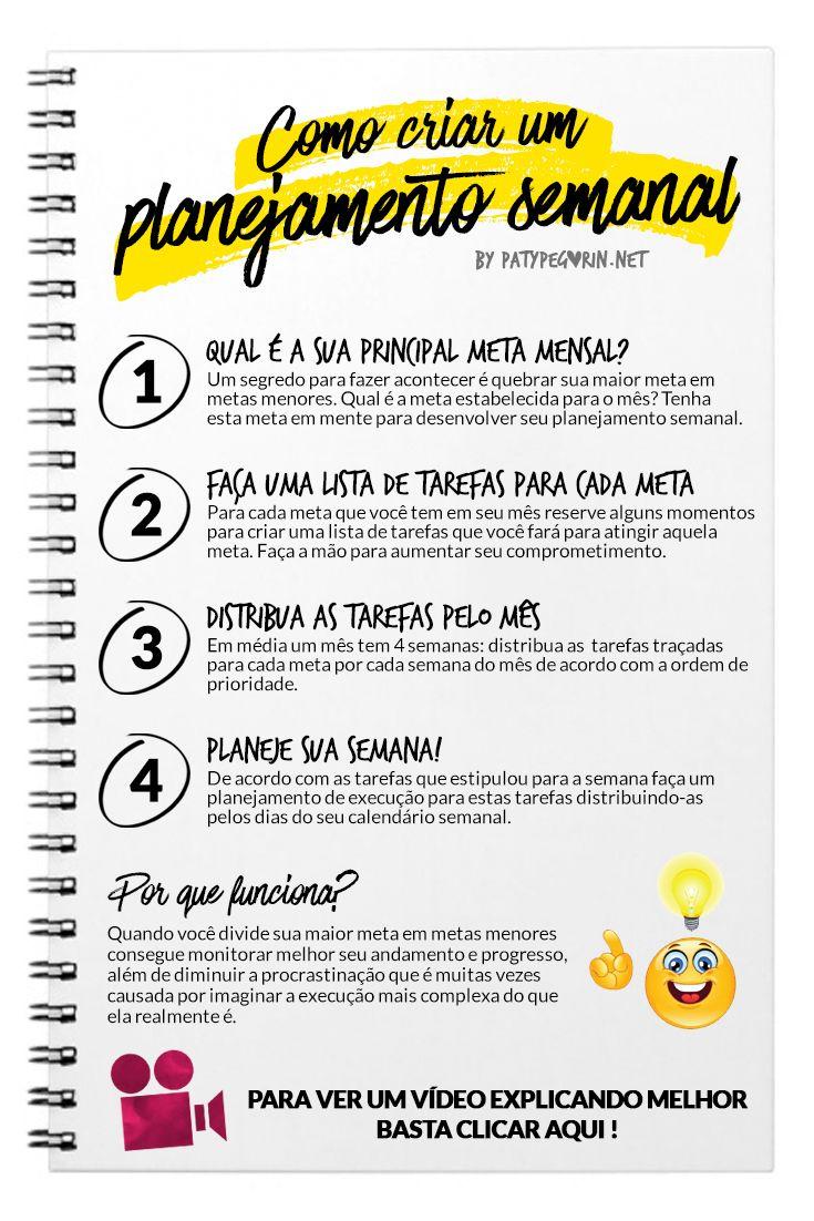 Pinterest - Como criar um planejamento semanal - Planejar - Planner - Paty Pegorin    Aprenda a criar um planejamento semanal em http://patypegorin.net/planejamento-semanal/