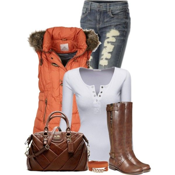 Brown quilted puffer vest with fur rimmed hood, brown or cream long sleeved v-neck t-shirt, distressed skinnies, brown riding boots and brown belt.