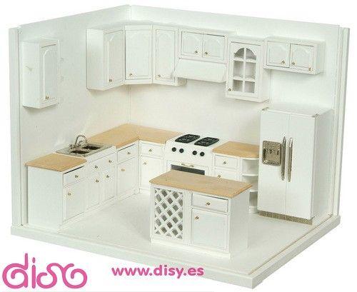 Miniaturas casas de muñecas - Muebles Cocina completa-A2898A