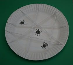 Paper plate spider web craft- instead of drawing spiders, could use cut-outs, stamps, or plastic rings (cut off ring), pom-poms, etc.